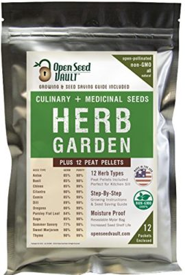 100-NON-GMO-Heirloom-Culinary-and-Medicial-Herb-Kit-12-popular-Easy-to-Grow-Herb-Seeds-by-Open-Seed-Vault-includes-12-seed-starting-peat-pellets-0